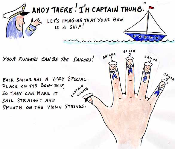 Ahoy There! I'M CAPTAIN THUMB: Let's imagine that your bow is a ship! Your fingers can be the sailors!