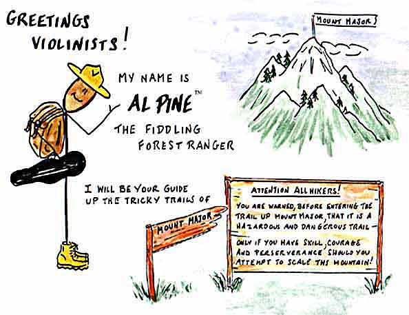 Greetings, Violinists! I'M AL PINE, your guide up the tricky violin trails of Mount Major.