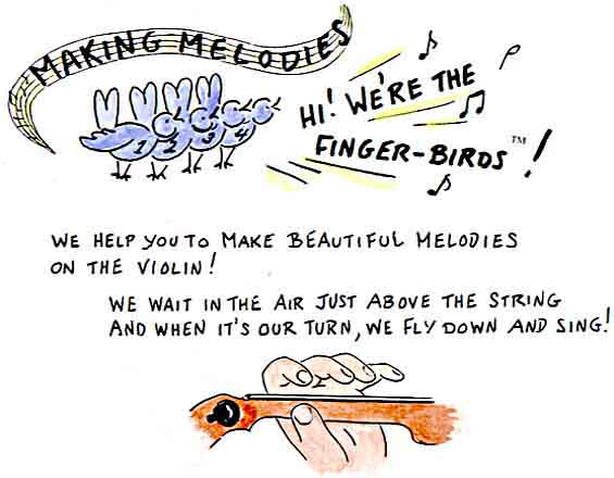 Hi! WE'RE THE FINGERBIRDS! We help you to make beautiful melodies on the violin!